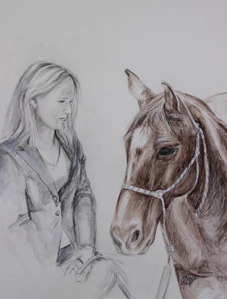 Isabel en Unieta 50 x 65 cm, conté op papier