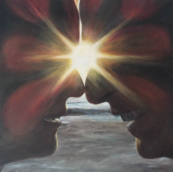 Lovebirds, 50 x 50, acryl op doek