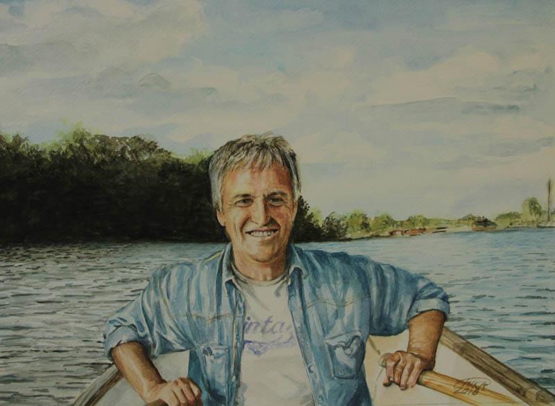 Man in bootje, 40 x 50 cm, aquarel op papier